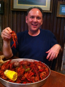 Eating Crawfish in Lafayette, LA.